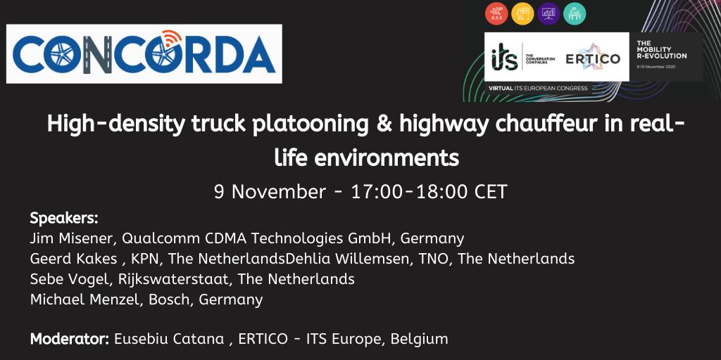 CONCORDA at the first ever Virtual ITS European Congress next 9-10 November
